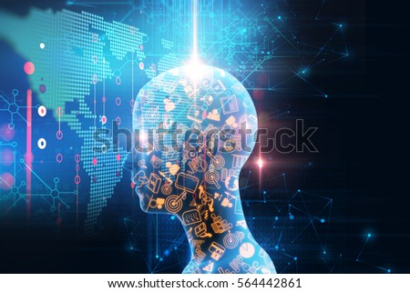 3d illustration of futuristic earth map technology abstract background represent global connection concept