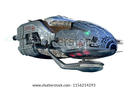 3D Illustration of futuristic spacecraft or military surveillance robot for science fiction artwork, fantasy games or interstellar space travel. Clipping path included in the file.