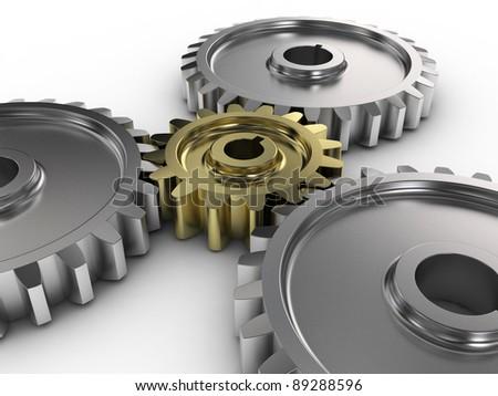 3d illustration of gear wheels background
