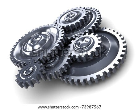 3d illustration of gear wheels over white background