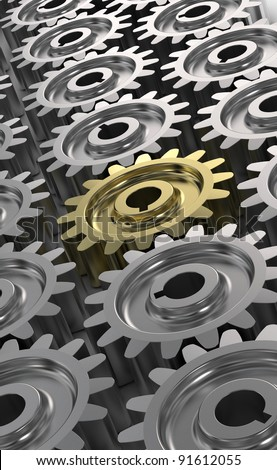 3d illustration of gear wheels system. gear wheels abstract background