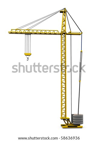 3d illustration of generic building crane isolated over white background