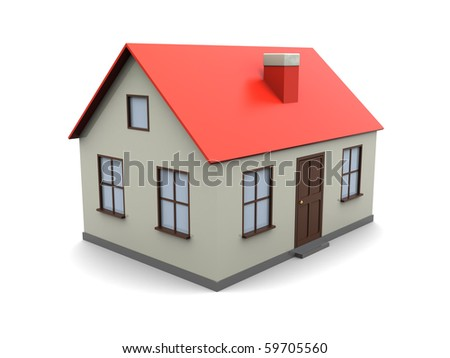3d illustration of generic house model over white background