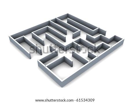 3d illustration of generic maze over white background