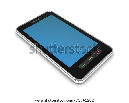 3d illustration of generic modern mobile phone - stock photo
