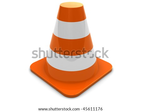 3d illustration of generic road cone over white background