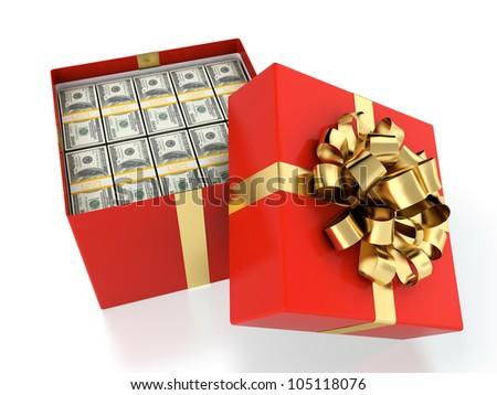 3D illustration of gift box full of dollar bills