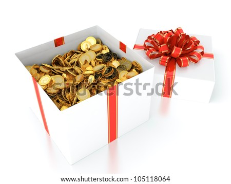 3D illustration of gift box full of gold coins