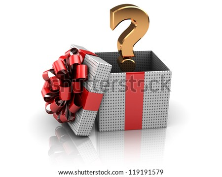 3d illustration of gift box with question mark inside