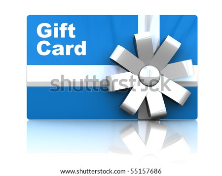 3d illustration of gift card, over white background with reflection