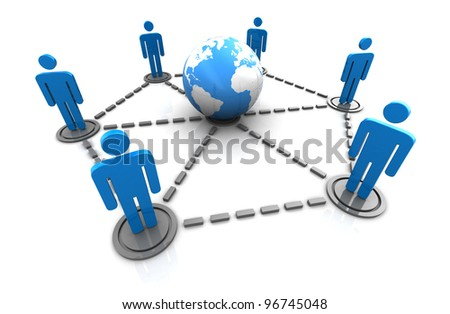 3d illustration of global people network concept