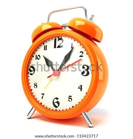 3d illustration of glossy alarm clock against white background