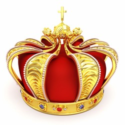 3d illustration of gold heraldic crown embeded with gems