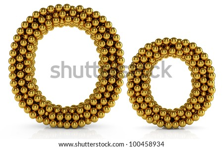 3d illustration of golden alphabet isolated on white background