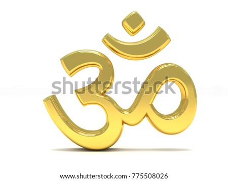 3d Illustration Of Golden Aum Or Om Symbol Of Hinduism Isolated On
