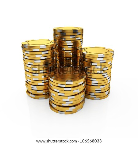 3d illustration of golden casino chips isolated on the white background
