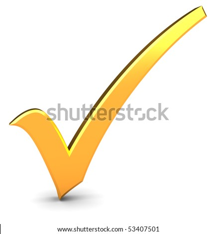 3d illustration of golden check mark over white background