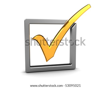 3d illustration of golden checkmark and steel checkbox