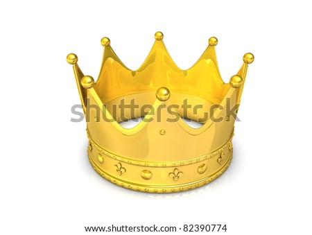 3d illustration of golden crown, isolated on white.
