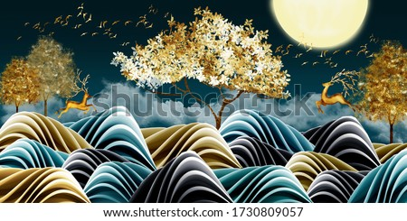 3d illustration of golden deer in the mountain. Luxurious abstract art digital painting for wallpaper