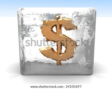 3d illustration of golden dollar sign in ice cube - stock photo