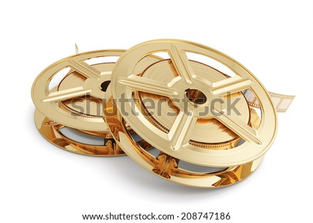 3d illustration of golden film reels stack isolated on white background