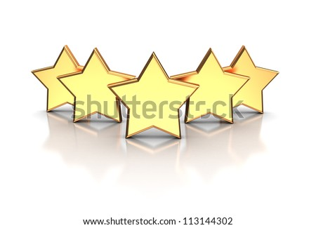 3d illustration of golden five stars isolated on a white background