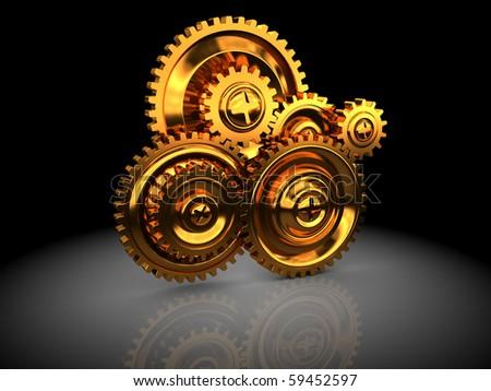 3d illustration of golden gear wheels