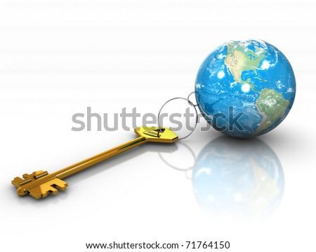 3d illustration of golden key and planet