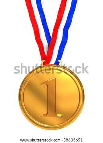 3d illustration of golden medal with number one sign - stock photo