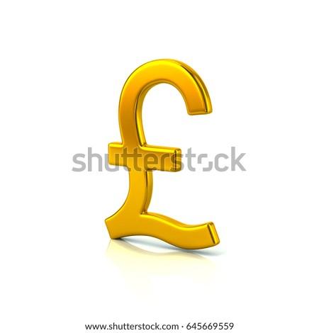 3d Illustration Of Golden Pound Sterling Symbol Isolated On White