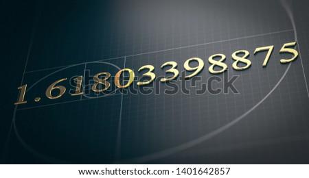 3D illustration of golden ratio. Fibonacci sequence concept over black background.