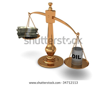 3d illustration of golden scale with oil and money