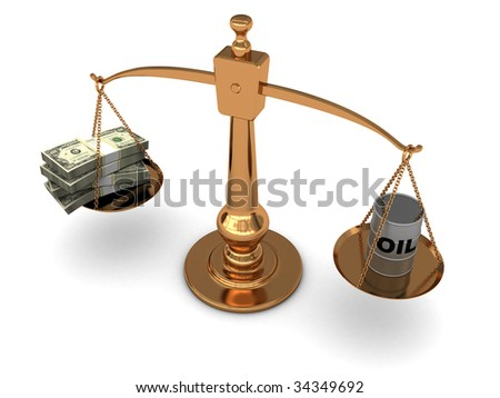 3d illustration of golden scale with oil barrel and dollars stack