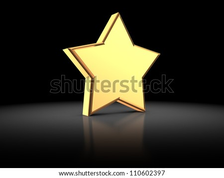 3d illustration of golden star on a black background