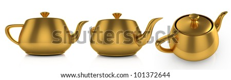 3d illustration of golden teapot on white background