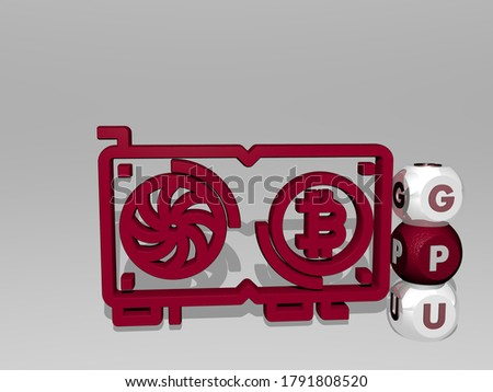 3D illustration of gpu graphics and text around the icon made by metallic dice letters for the related meanings of the concept and presentations. card and computer stock photo