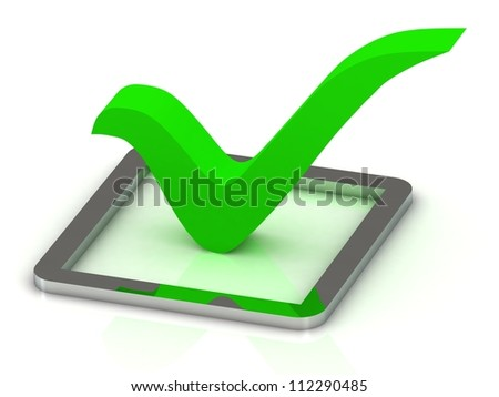 3d illustration of green check mark in silver box over white background