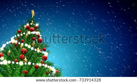 Stock Photo 3d illustration of green Christmas tree over blue background with snowflakes and red balls. 4K