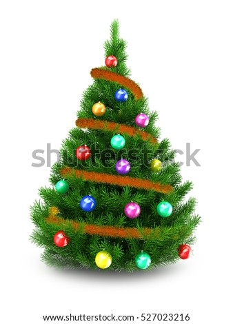 3d illustration of green Christmas tree over white background with orange tinsel and colorful balls - Shutterstock ID 527023216