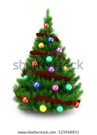 3d illustration of green Christmas tree over white background with red tinsel and colorful balls - Shutterstock ID 525968851