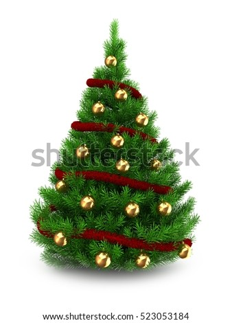3d illustration of green Christmas tree over white background with red tinsel and golden balls - Shutterstock ID 523053184