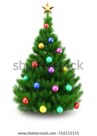 3d illustration of green Christmas tree over white background with star and colorful balls - Shutterstock ID 516512155