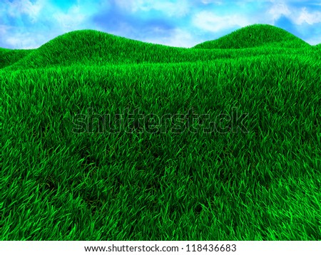 3d illustration of green meadow with blue sky