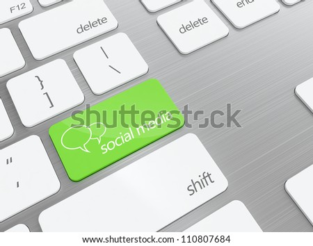 3D illustration of green social media button on keyboard