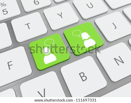 3D illustration of green social media buttons on keyboard - stock photo