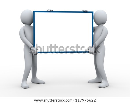 3d illustration of group of man presenting empty board.  3d rendering of human character.