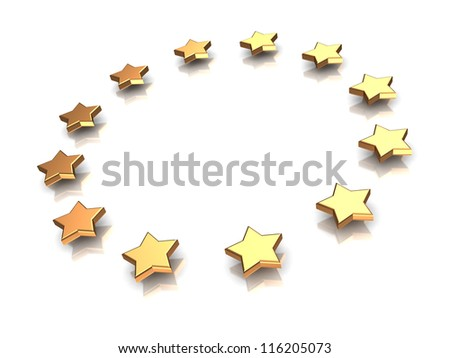 3d illustration of group of stars on a white background