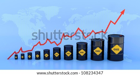 3D illustration of growing oil chart with World map on background