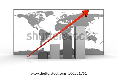 3D illustration of growth concept with linear trend line and map of world in the background. Elements of this image furnished by NASA.